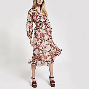 Pink floral print embellished waisted dress