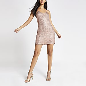 Rose gold sequin embellished slip dress