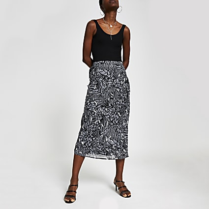 Grey print embellished midi skirt