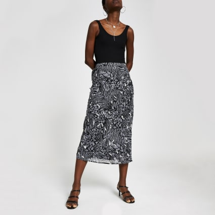 Grey print embellished midi skirt