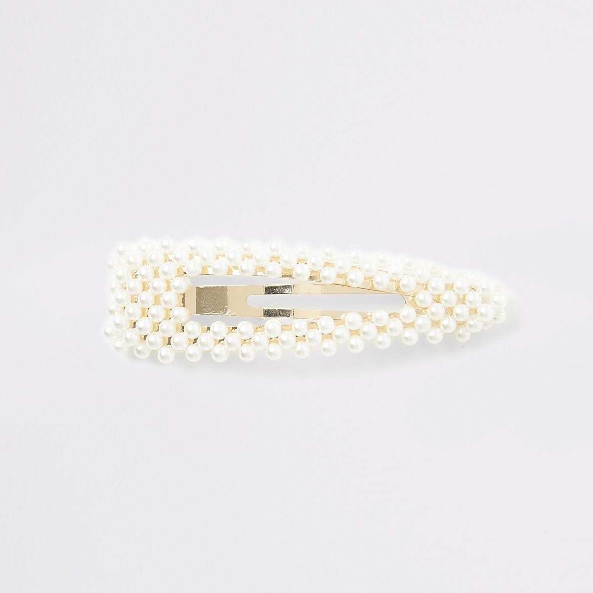Gold color faux pearl hair clip