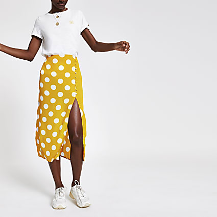 Yellow elasticated waist spot midi skirt