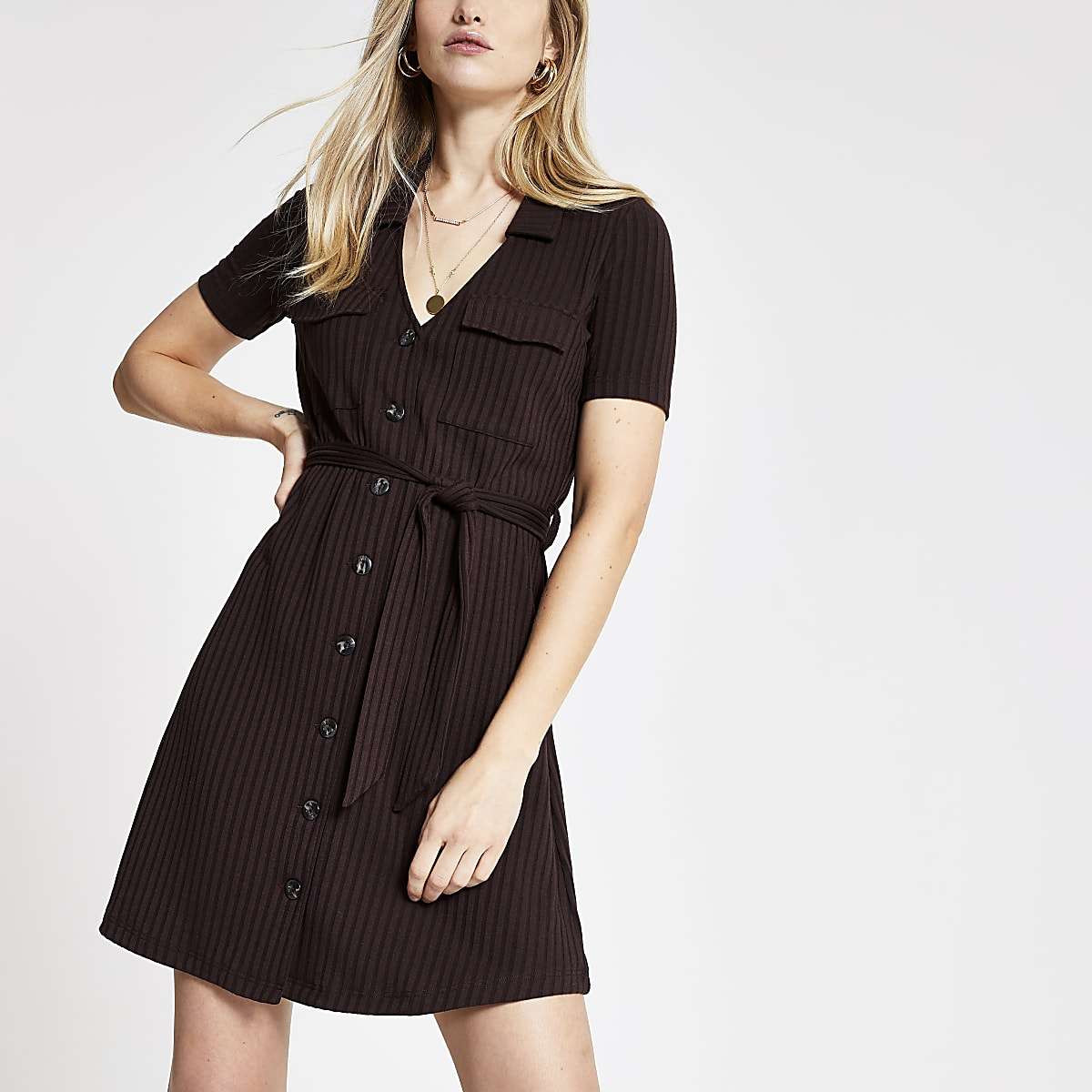 Dark brown utility shirt dress