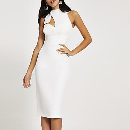 White cut out bow neck bodycon midi dress