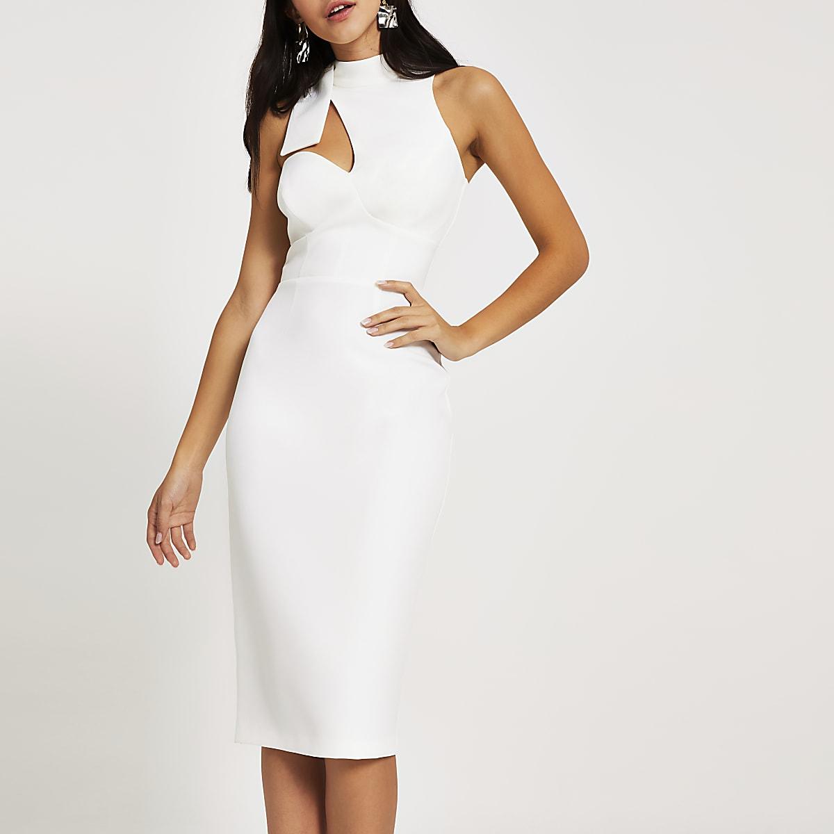 Witte aansluitende midi-jurk met uitsnede en strik om hals