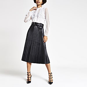 Black pleated faux leather midi skirt