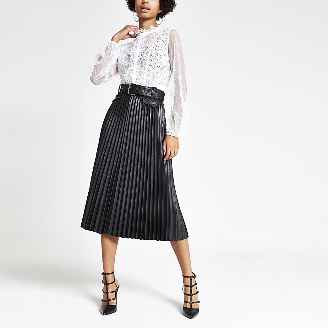 Black pleated faux leather midi skirt