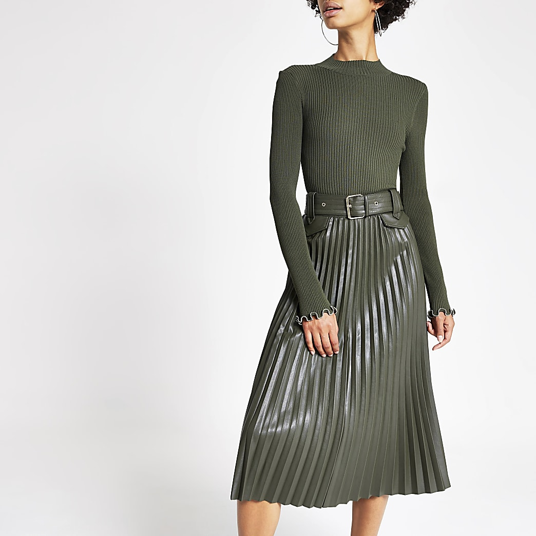 Khaki pleated faux leather midi skirt