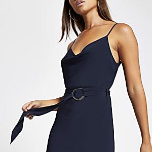 Marineblaues Slip-Kleid mit Wasserfallkragen und Gürtel