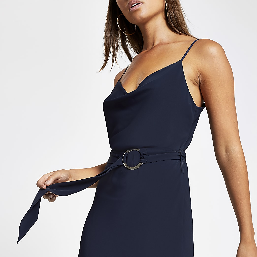 Navy cowl neck belted slip dress