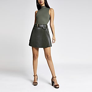 Khaki PU belted pleated mini skirt