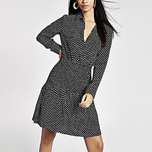 Black spot shirred shirt dress