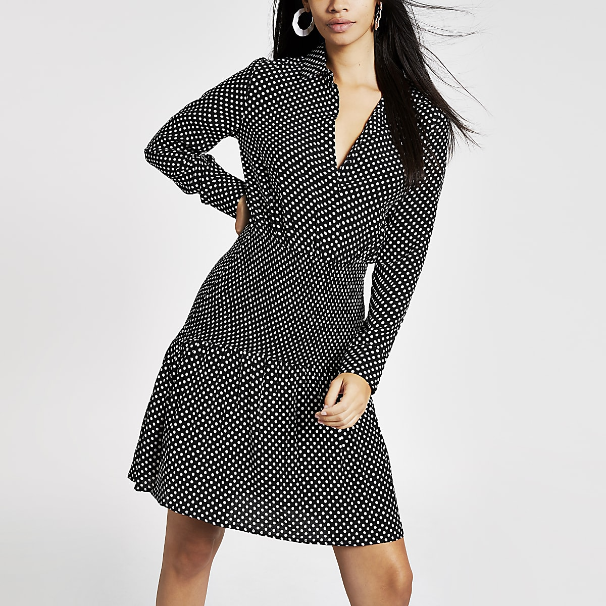 Black polka dot shirred shirt dress