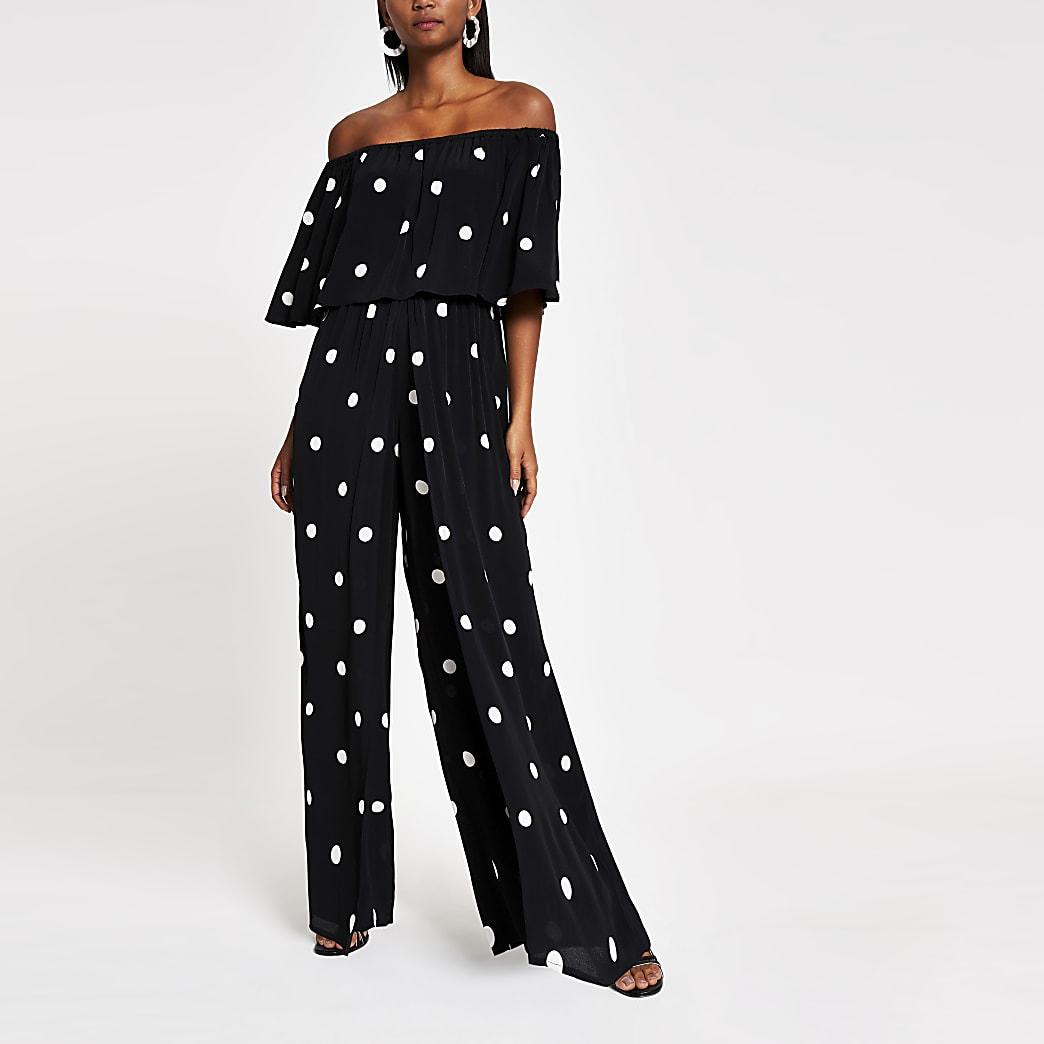 Black spot print bardot jumpsuit