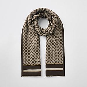 Brauner Schal mit Monogramm-Print