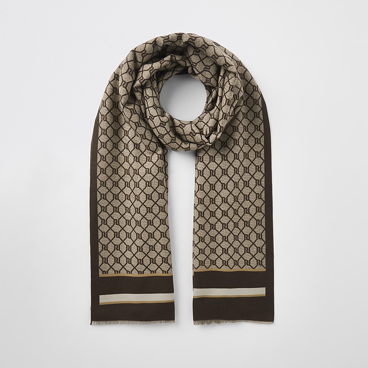 Brown RI monogram print scarf