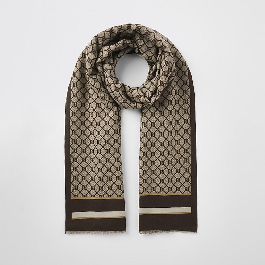 Brown RI monogram print scarf