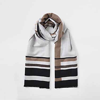 Beige jacquard check scarf