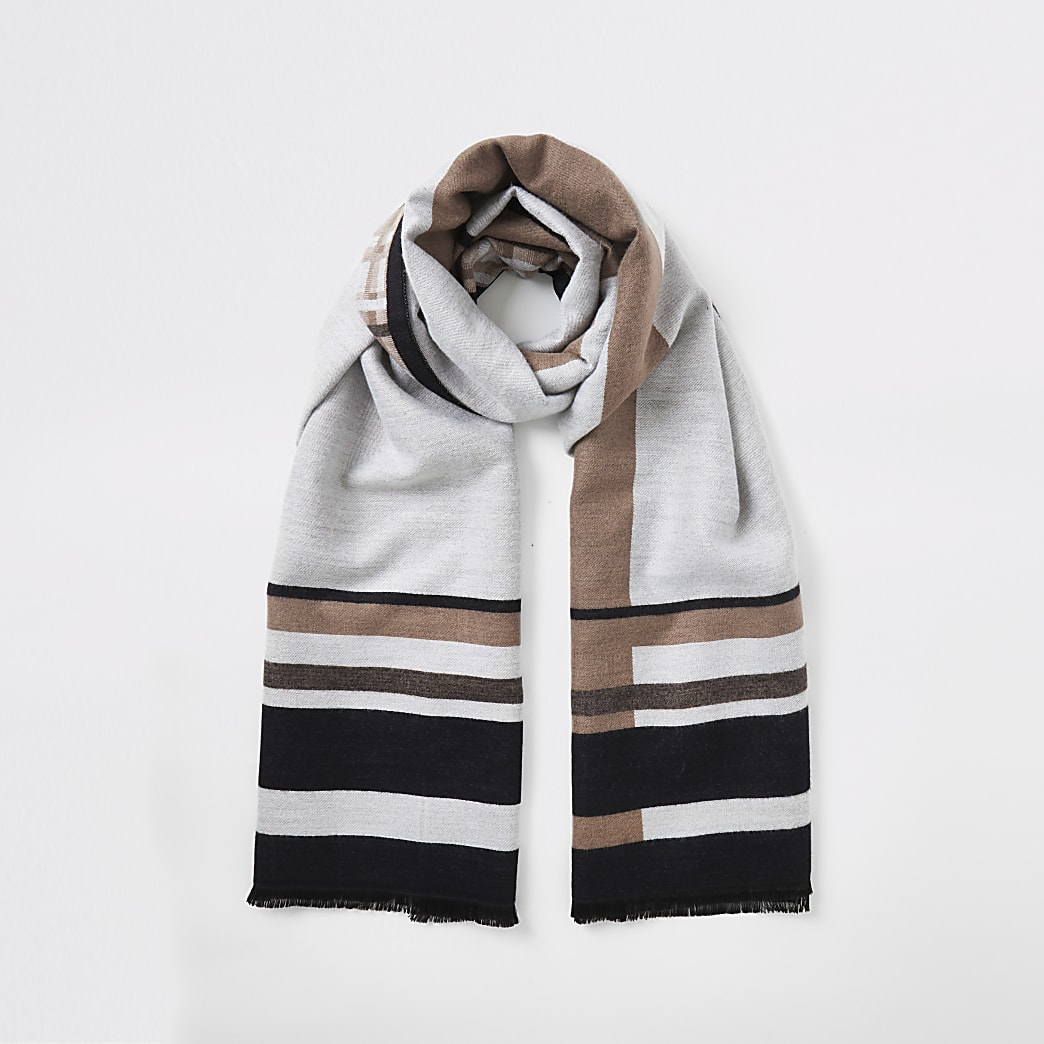 Beige jacquard check scarf