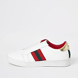Witte elastische slip-on sneakers