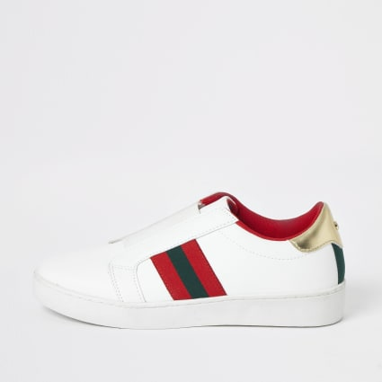 White elastic slip on trainers