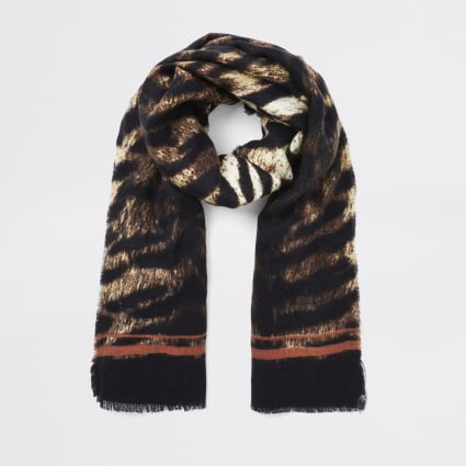 Beige tiger print scarf
