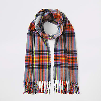 Grey multicoloured check scarf