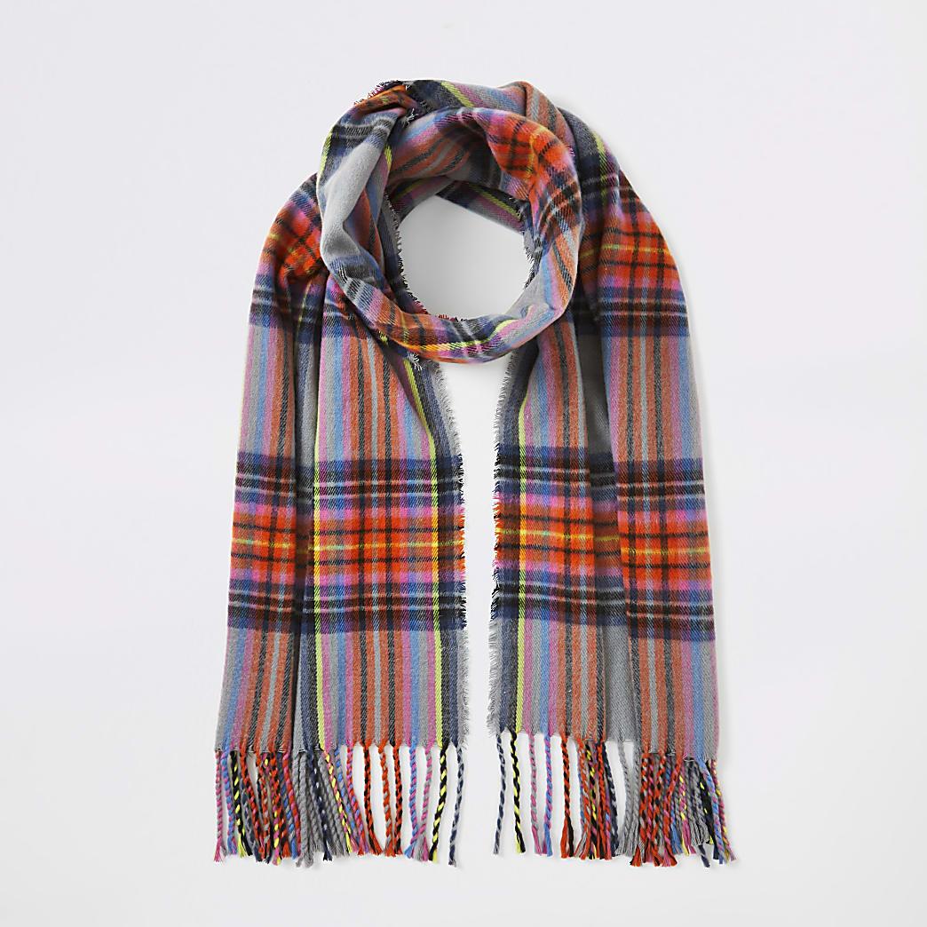 Grey multicoloured check scarf