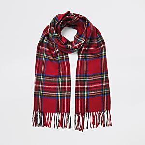 Roter Schal mit Schottenkaro-Print