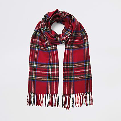 Red tartan print scarf