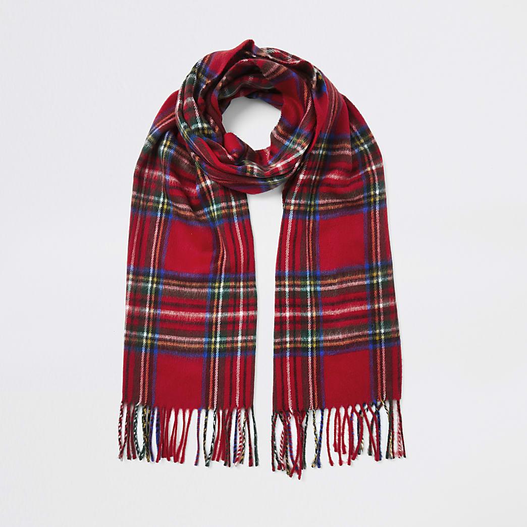 Rode sjaal met geruite print