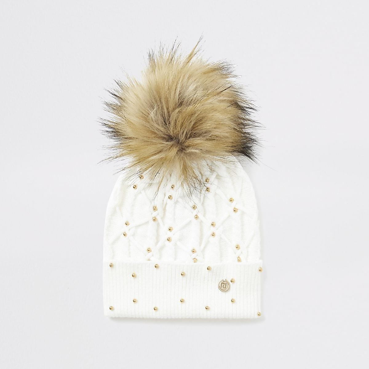 White studded beanie hat