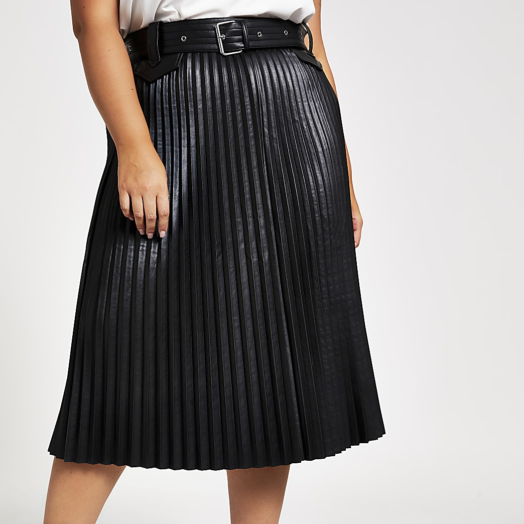 Plus black faux leather pleated midi skirt