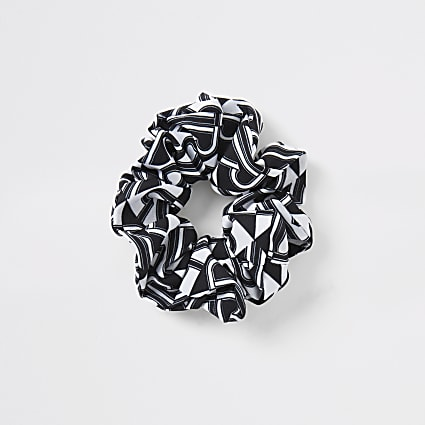 Black RI print scrunchie
