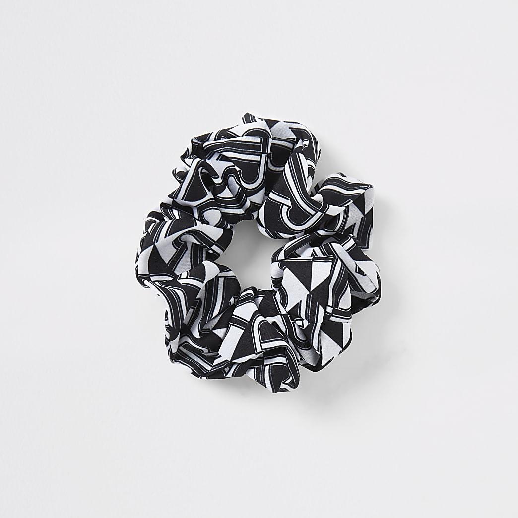 Black RI print scrunchie
