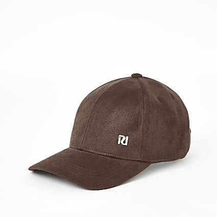 Brown faux suede baseball cap