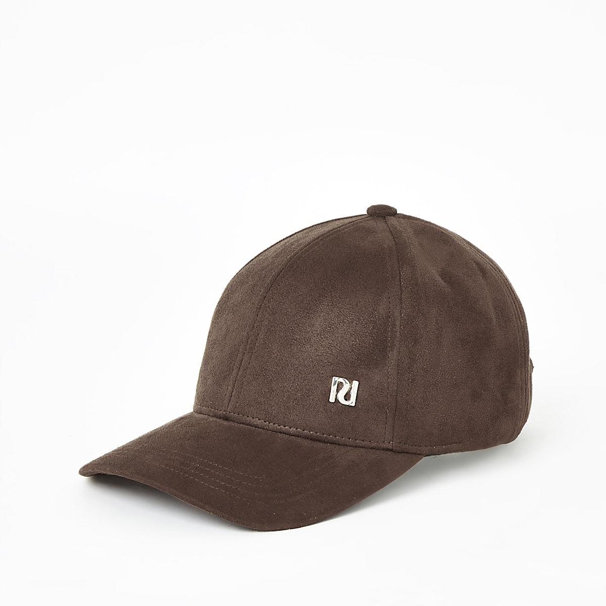 Bruine baseballpet van imitatiesuède