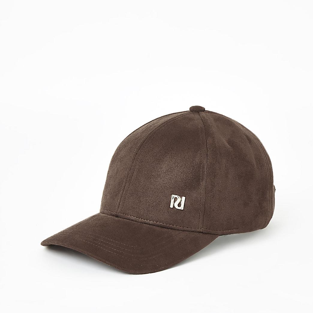 Brown faux suede baseball cap
