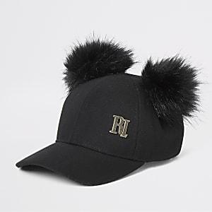 Zwarte baseballpet met pompons van imitatiebont met RI-print
