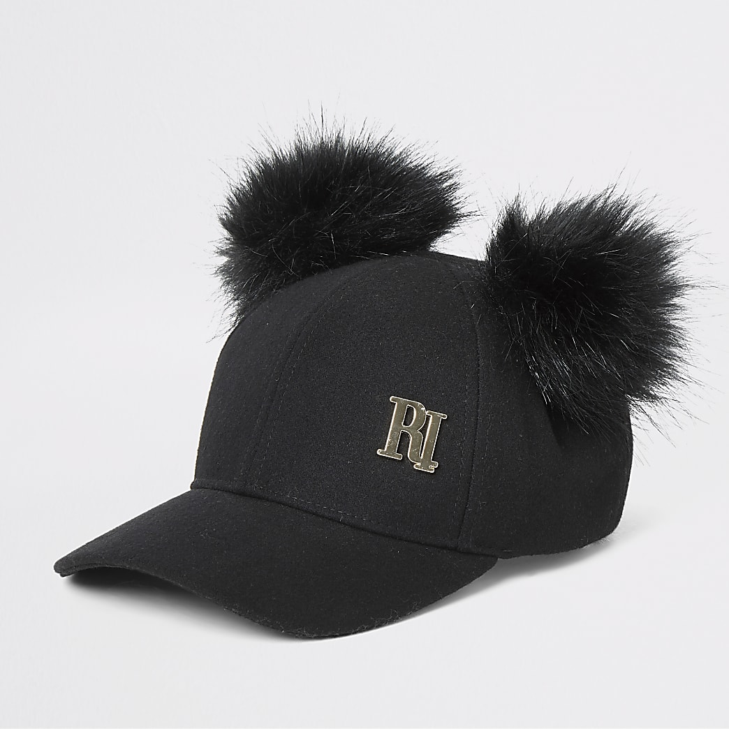 Black RI faux fur pom pom baseball cap