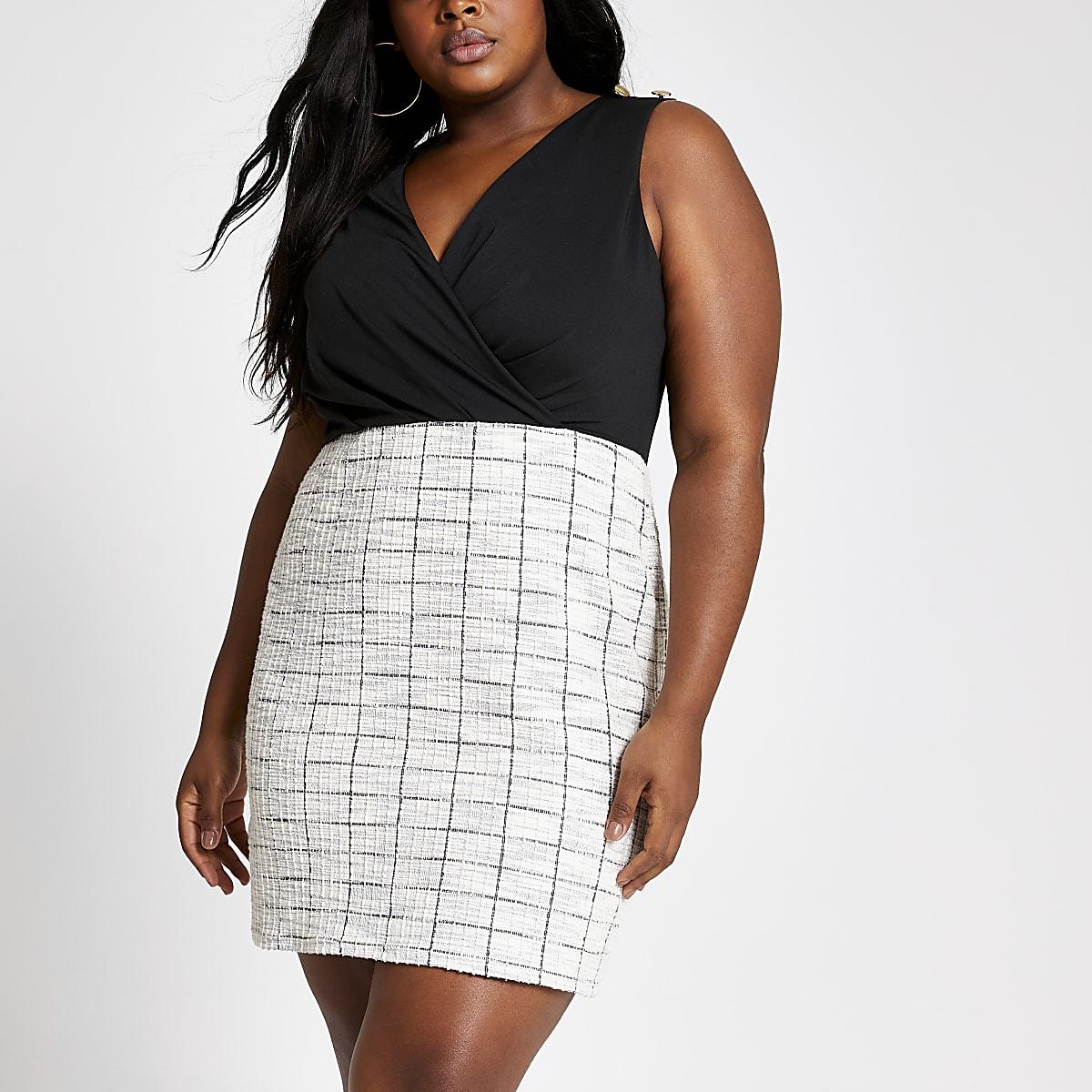 RI Plus - Zwarte 2-in-1 mini-jurk van bouclé