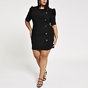 Plus black puff sleeve scuba mini dress