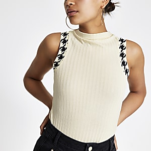 Cream tipped high neck top