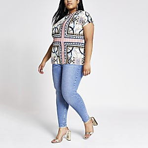 Plus white mixed print plisse top