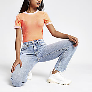 Petite – T-shirt orange fluo à bordures