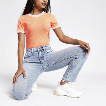 Petite neon orange tipped T-shirt