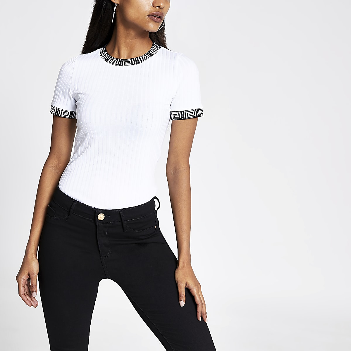 Petite white tipped T-shirt