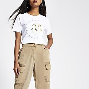 RI Petite - Wit T-shirt met RI-logo en siersteentjes