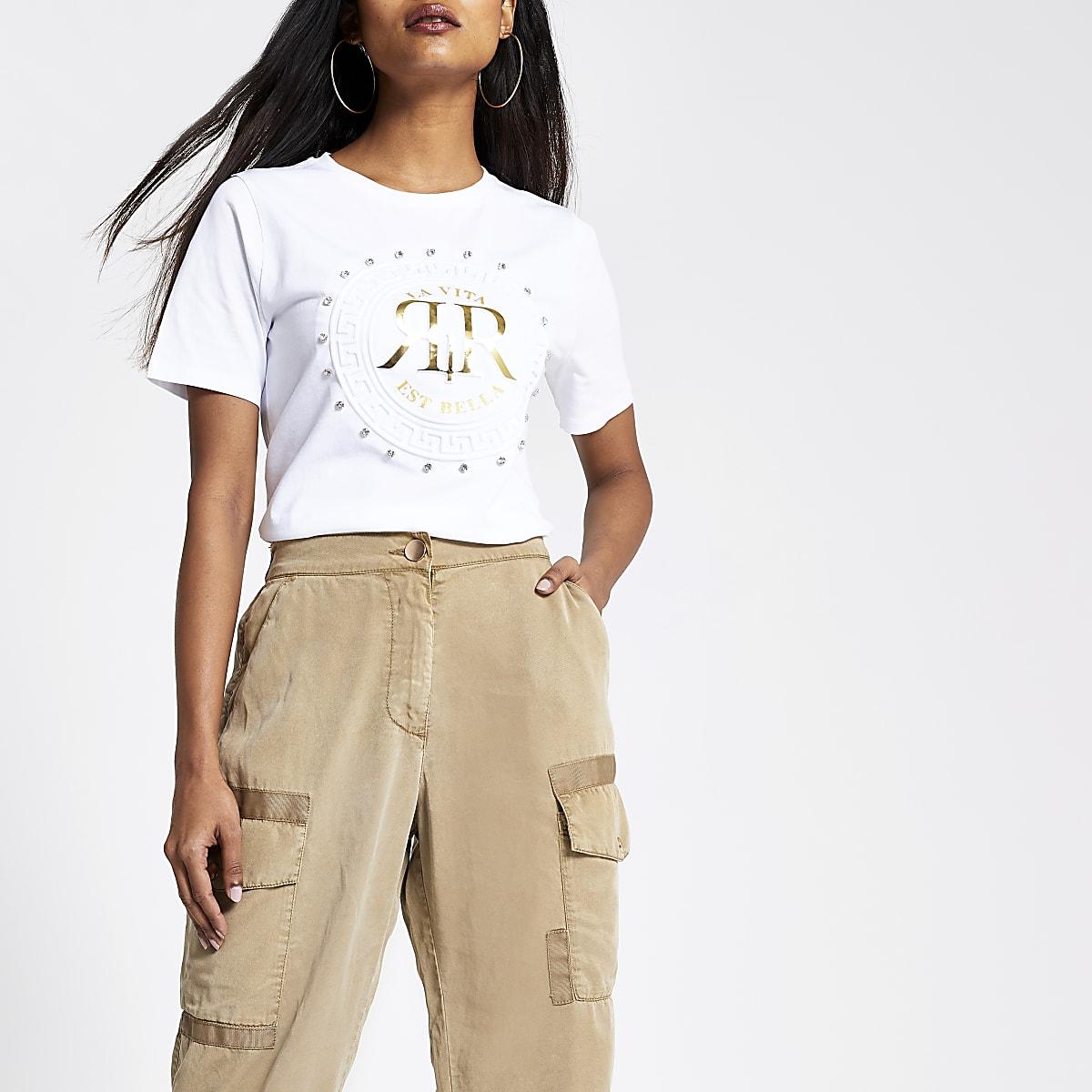 Petite white RI rhinestone T-shirt