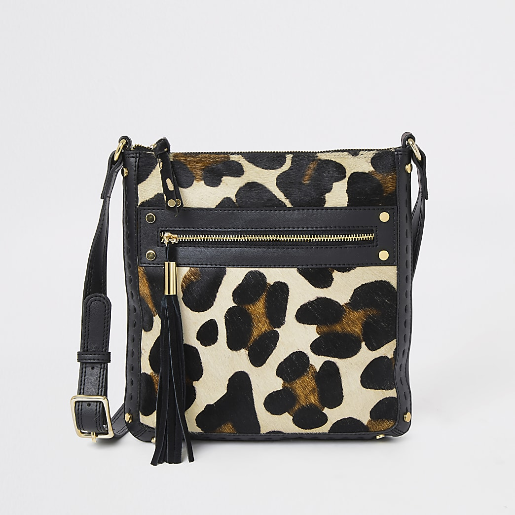 Black leather animal print messenger bag